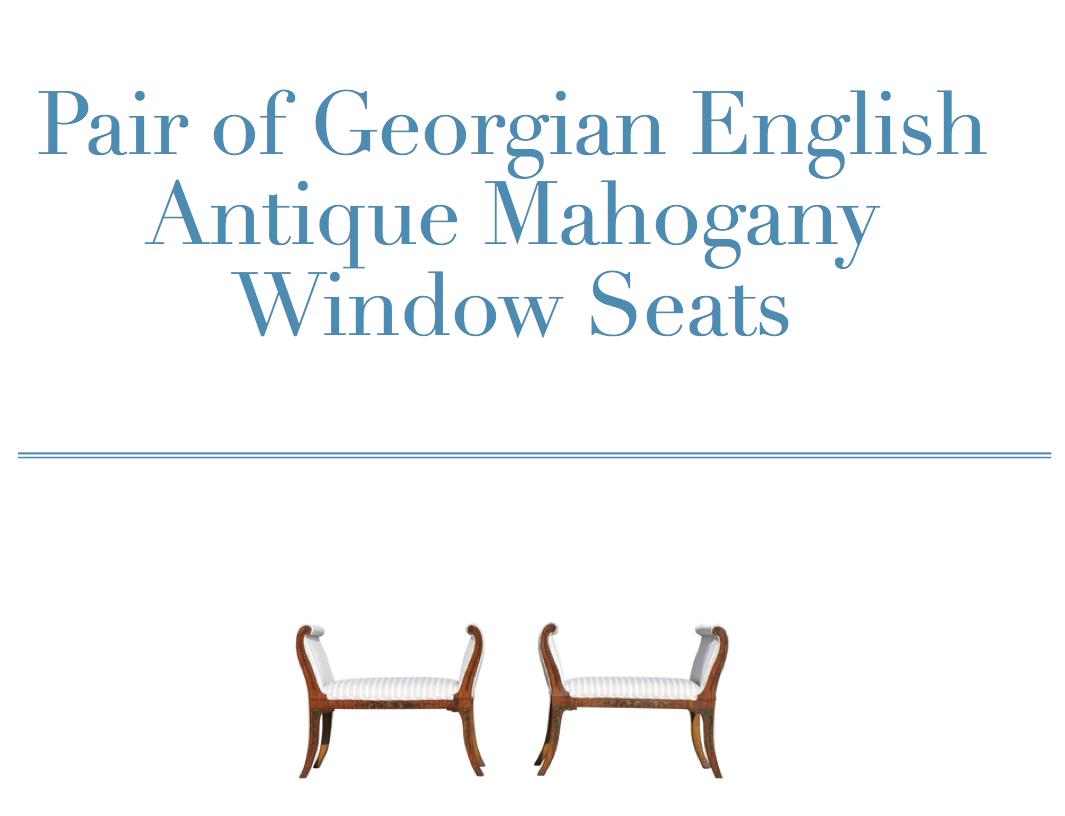 Pair of Georgian English Antique Mahogany Window Seats