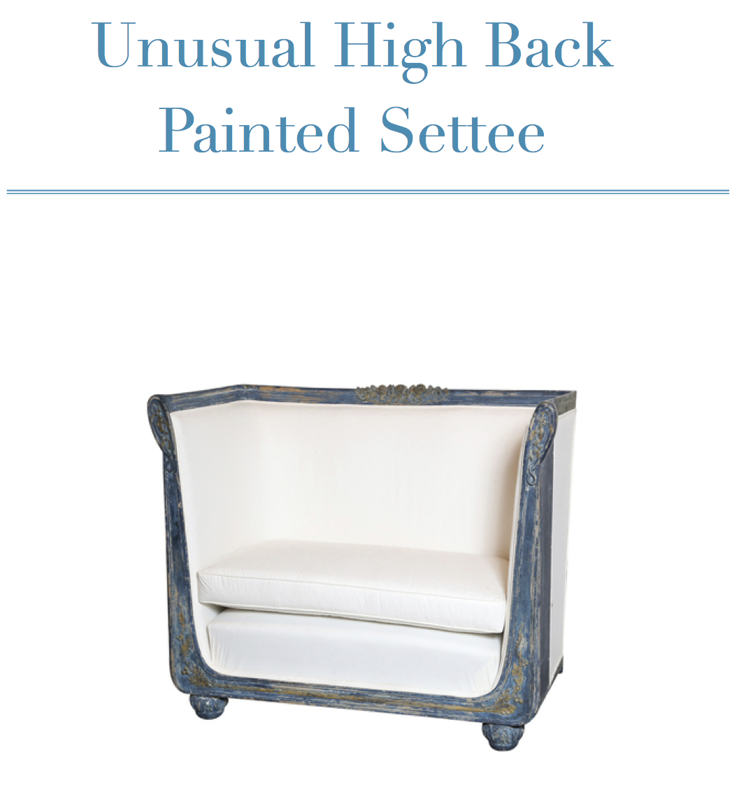 Unusual High Back Painted Settee